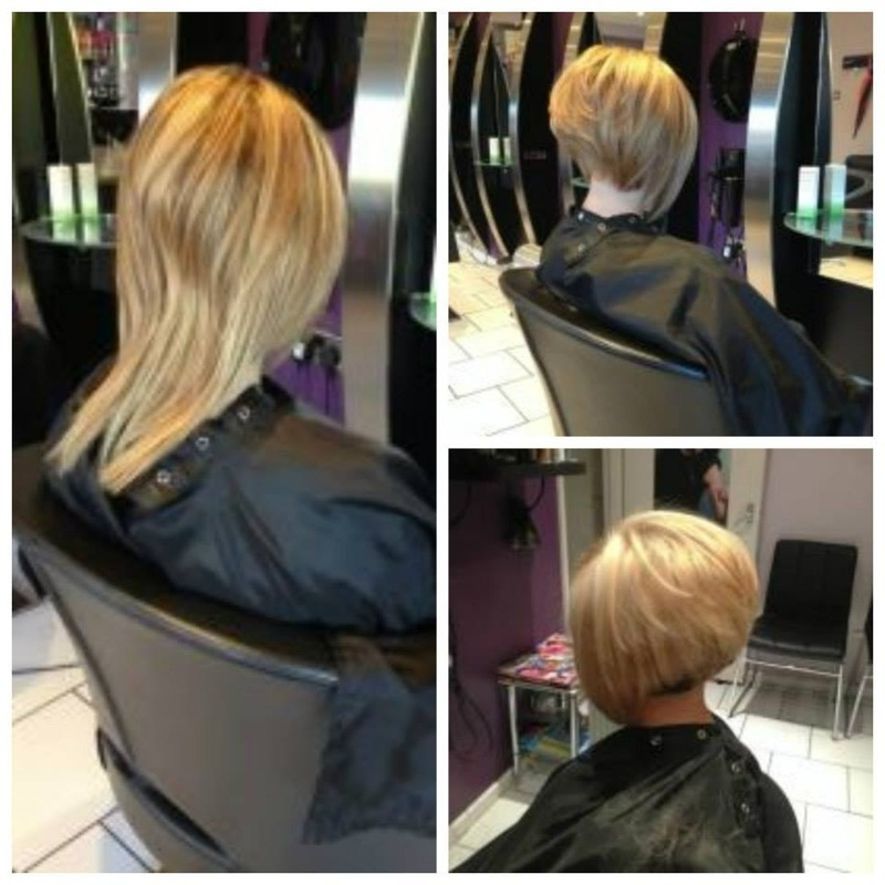 ... length hair...after highly graduated bob then colour change underneath